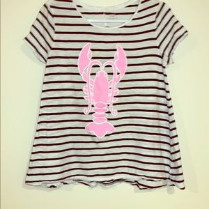 Crown & Ivy • striped tee with pink lobster SZ:M